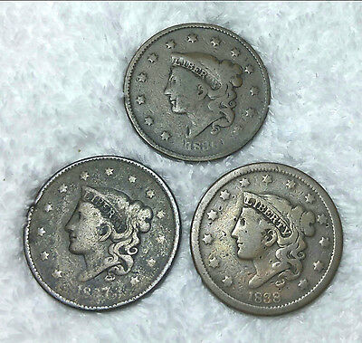 Large cents 1836, 1837, 1838 - free shipping