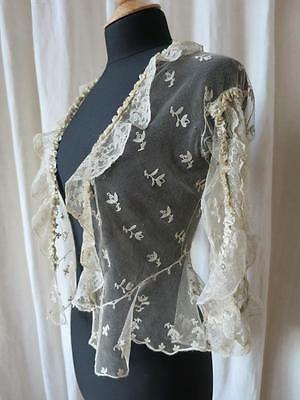 Superb Antique Needle Run Lace Negligee Jacket