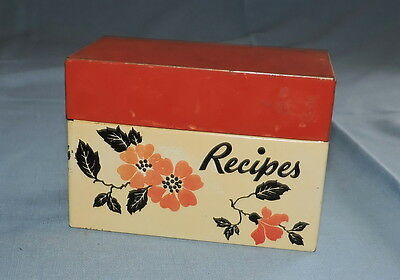 Vintage Hall Red Poppy Recipe Box with Index Cards Made by Ohio Art Co - C2949