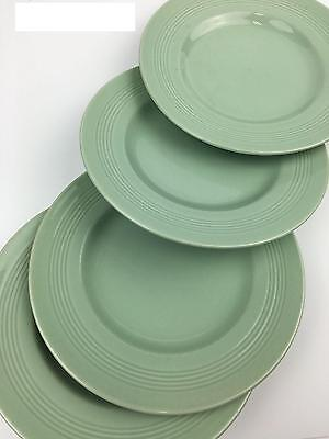 4 VINTAGE Wood's Ware Beryl Plates - Pastel Green