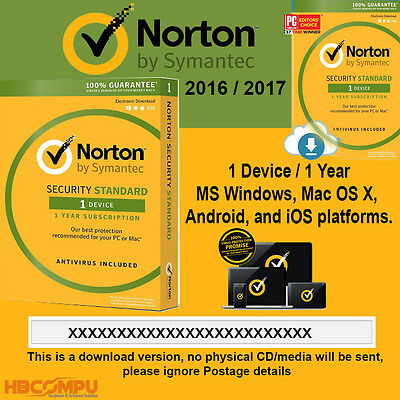 Norton Security Standard 1 Device - 1 Year Latest 2016 2017 - Code Only