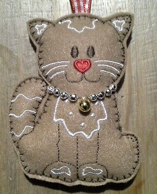 Homemade Felt  Gingerbread Cat Tree Decoration Christmas Ornaments Gifts