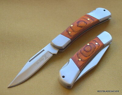 Elk Ridge Small Lockback Folding Pocket Knife Wood Handle