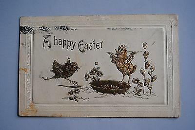 Antique Embossed A Happy Ester Postcard Golden Chicks Made In Germany