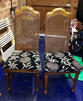 Set Of Two Vintage Italian Berger Backed Style Dining Chairs