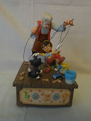 A Disney Geppetto & Pinocchio Music Box W/Figaro and Jiminy Cricket