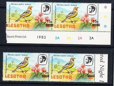 LESOTHO : 2 pairs MNH showing uneven overprint