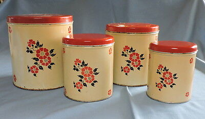 Vintage Set of Red Poppy Canisters - C2949