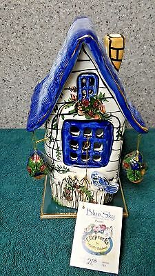 House (Blue) with Floral Bouquets T-Lite Holder a Clayworks from Blue Sky