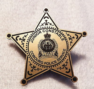 Cobourg (ON,Canada) Police Service JUNIOR CONSTABLE Plastic Novelty Badge  (B49)