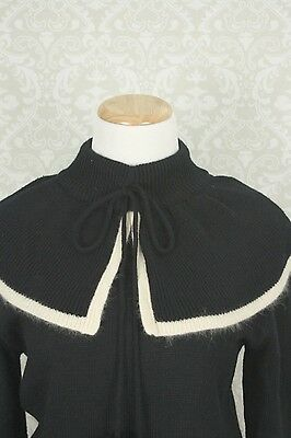 50s 60s Rockabilly Pin Up Black Long Sleeve Sweater w/ Angora Trimmed Capelet L