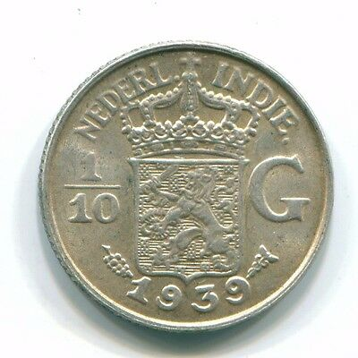 1939 Netherlands East Indies 1/10 Gulden Silver Colonial Coin Nl13525#3