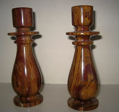 Pair of natural Onyx stone candle holder, made in Pakistan