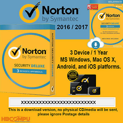 Norton Internet Security Deluxe 3 Device - 1 Year Latest 2016 2017 - ESD Key