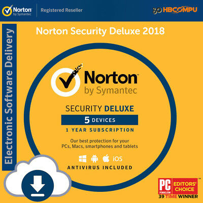 Norton Internet Security Deluxe 5 Device - 1 Year Latest 2016 2017 - ESD Key