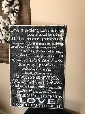 Love Is Patient Love Is Kind Corinthians 13 Handmade Rustic Wood Sign