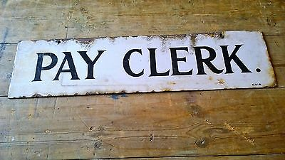 Rare Clogher Valley Railway Pay Clerk Enamel Sign C.V.R Irish Ireland Station