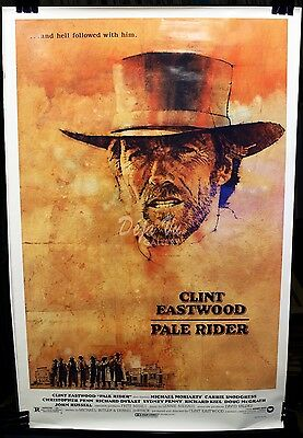 Pale Rider Original Movie Poster - Clint Eastwood - Western Classic - 1985 - VF