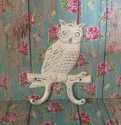 Cast Iron OWL Towel Hooks Hat Rack jewelry Kitchen Double Hook Shabby Chic White