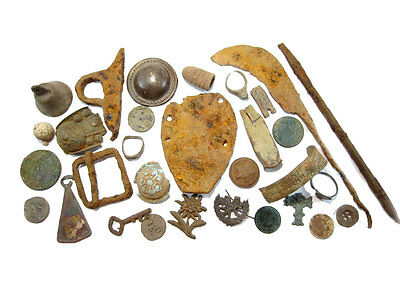 LOT of  BROAD VARIETY METAL DETECTOR FIND ANTIQUE BRONZE ARTIFACTS