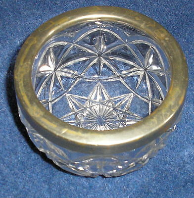 Vintage cut glass sugar bowl with EPNS silver plated rim