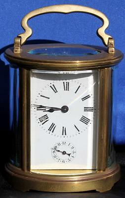 Antique French Couillet Freres Large Oval Alarm 8 Day Carriage Clock Serviced