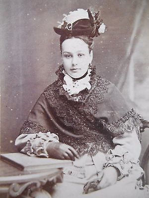 Antique CDV Photo STUNNING VICTORIAN BEAUTY LADY LACE DRESS HAT GLOVES NEWCASTLE