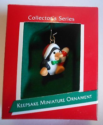 "1989 Hallmark Miniature Ornament ""Penguin Pal"" With Candy Cane MIB"