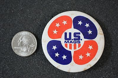 Vintage U.S. Mags Wheels Rims Red White Blue Advertising Pin Pinback Button