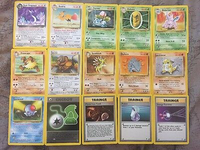 15 Pokemon Cards From The WotC Legendary Set In Very Good Condition