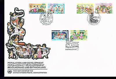 1994 LARGE FDC UN NY-G-V Individual Stamps = Population and Development