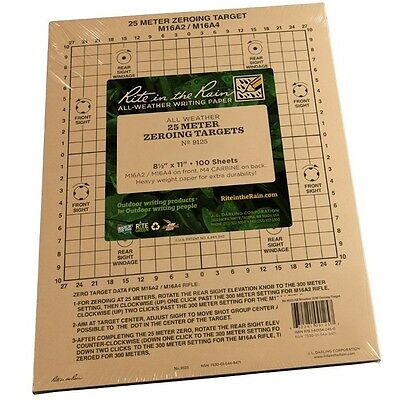 """Rite in the Rain 9125 All-Weather 25 Meter Zeroing Target, 8.5"""" x 11"""""""