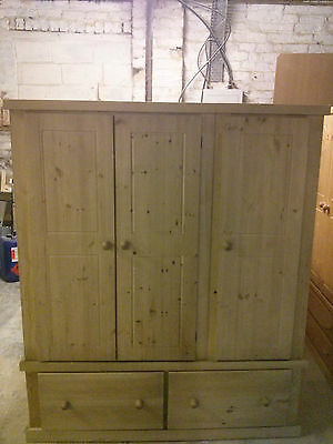 Pine Furniture Aylesbury Triple 2 Jumper Drawer Wardrobe No Flat Packs