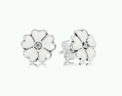 PANDORA White Primrose Flower earrings 290569EN12 Sterling silver 925