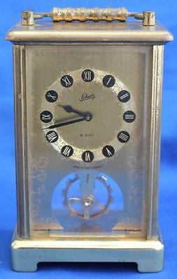 Vintage German Schatz Open Brass Dial 8 Day Timepiece Carriage Clock