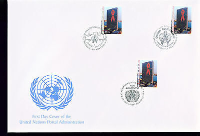 2002 LARGE FDC UN NY-G-V Individual Stamps = Aids Awareness