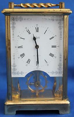 Vintage German Schatz Open Dial 8 Day Timepiece Carriage Clock