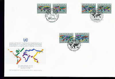 1994 LARGE FDC UN NY-G-V Individual Stamps = Development Through Partnership