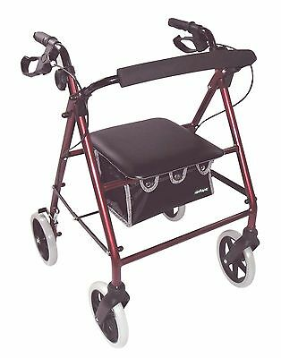 GREAT $  BUY !  Lightweight Deluxe Rollator - Metalic Red - Aidapt VP176A