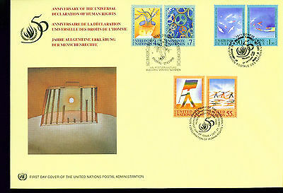 1998 LARGE FDC UN NY-G-V Individual Stamps = 50th Anniversary of Human Rights