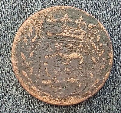 Netherlands copper duit 1751 colonial American coinage 2 lions under a crown
