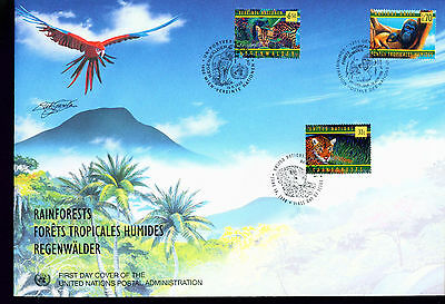 1998 LARGE FDC UN NY-G-V Individual Stamps = Rainforests