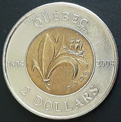 Canada 1608-2008 400th Anniversary Quebec City Toonie (2 Dollars) Coin