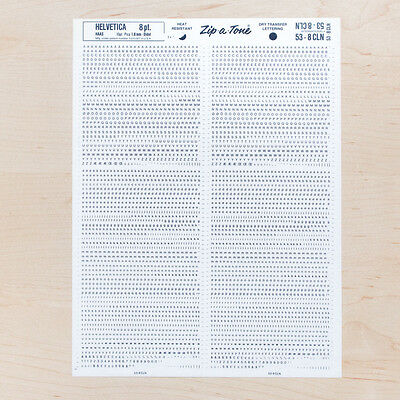1 Sheet HELVETICA 8pt 1.8mm Letraset L166 Rub on Letters Dry Transfer Zines