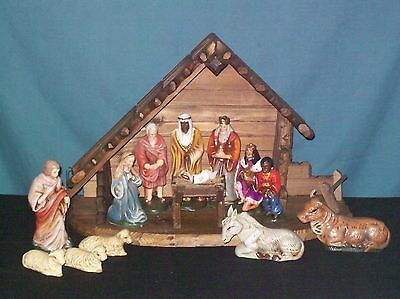 15 pc VINTAGE NATIVITY Set Wood Manger Stable Marked WESTERN GERMANY