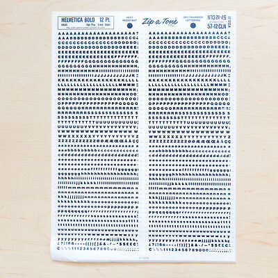 1 Sheet HELVETICA 12pt Bold Letraset L166 Rub on Letters Dry Transfer Decals