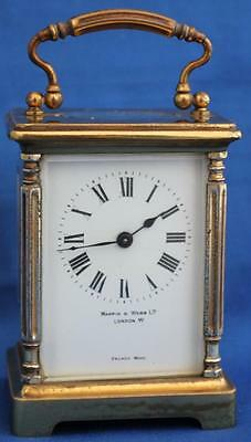 Antique French Mappin & Webb 8 Day Corinthian Pillar Corniche Carriage Clock