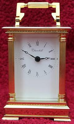 Churchill Large Solid Brass Vintage Quartz Carriage Clock