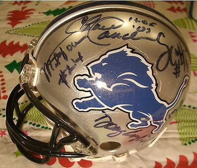 Detroit Lions Auto Mini Helmet - 9 Sigs - Sanders-Farr-Murry-Raiola-English+More