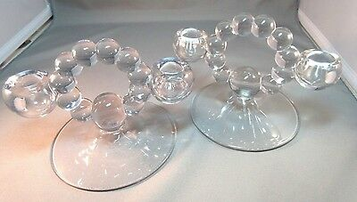 Vintage PAIR OF IMPERIAL GLASS CANDLEWICK CRYSTAL CLEAR DOUBLE CANDLE HOLDERS!